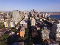 Aerial Perspective Downtown Urban Core Seattle Washington Mt Rainier