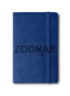 Marine blue closed notebook isolated on white