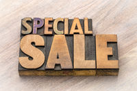 special sale word abstract in wood type