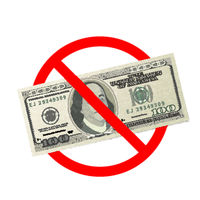 One hundred USA dollars banknotes are not allowed, red forbidden sign on white