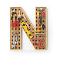 Letter N. Alphabet from the tools on the metal pegboard isolated on white.