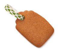 Gingerbread Label Cookie with Ribbon Isolated on White Background