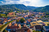 Samobor cityscape and surrounding hills aerial view