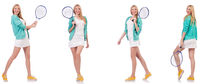 Young beautiful lady playing tennis isolated on white