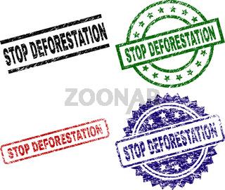 Grunge Textured STOP DEFORESTATION Stamp Seals