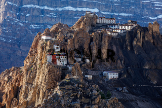 Dhankar monastry perched on a cliff in Himalayas, India