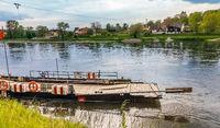 Kelheim, Bavaria, Germany on 21.05.2017 Cable ferry across the Danube at Weltenburg Lower Bavaria