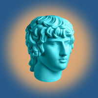 Modern conceptual art poster with ancient statue of bust of Antinous. Collage of contemporary art.