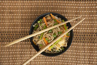 Garlic Noodles with chopsticks, top view, Pune, India.