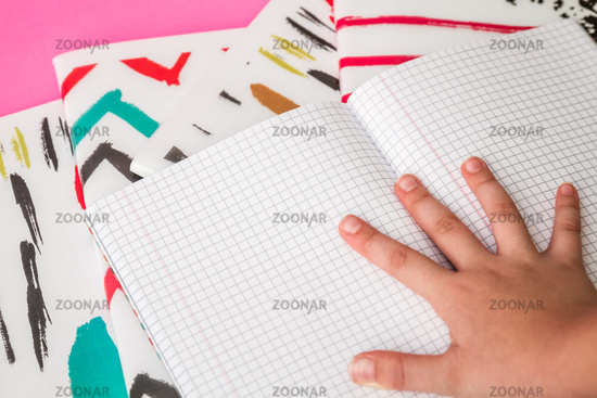 View of a Student's Desk and Notebooks, Back to School Concept