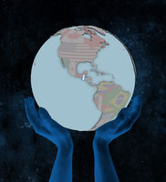 Guatemala on political globe in hands