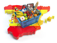 Market basket or consumer price index in Spain. Shopping basket with foods on the map of Spain.