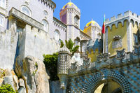crenellated towers of the castle of Pena Sintra Portugal
