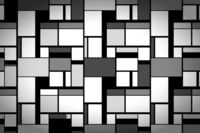 Grayscale painting in Mondrian's style, wide artistic background