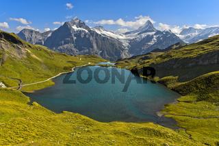 Alpine Landschaft mit Bachalpsee, Grindelwald, Berner Oberland, Schweiz