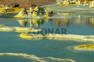 Farbige heisse Mineralquellen, Geothermalgebiet Dallol, Danakilsenke, Afar Dreieck, Äthiopien