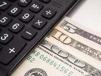 dollar on the desk, Stock Market Finance.