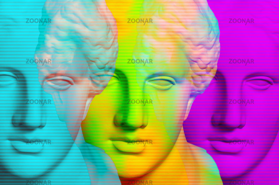 Modern conceptual art poster with three colorful antique Venus bust. Contemporary art collage.