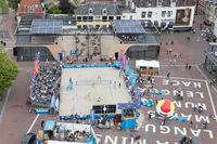 Leeuwarden, the Netherlands - June 10: Dutch beachvolleyball on a field in Leeuwarden, aerial view on June 10, 2018 in Leeuwarden, the Netherlands
