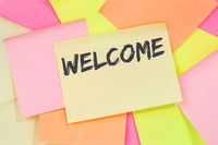 Welcome new employee colleague refugees refugee immigrants note paper