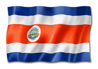 Costa Rican flag isolated on white