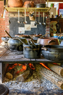 Wood burning stove and some clay pots