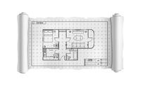 Engineering white scroll with detailed house plan, building blueprint on white