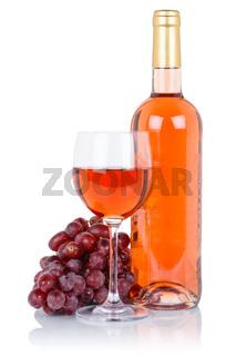 Wein Weinflasche Weinglas Flasche rose Glas Rosewein Weintrauben Alkohol Getränk freigestellt Freisteller