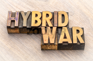 hybrid war text in wood type