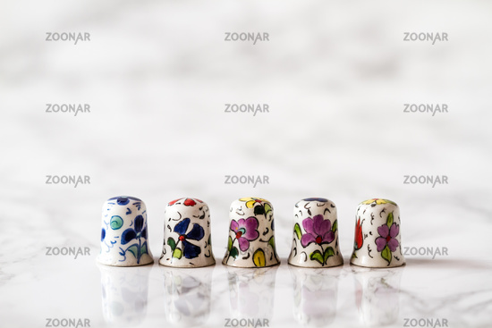 Ceramic Thimbles for Tailors with Colorful Flower Pattern