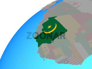 Mauritania with flag on globe