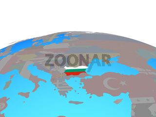 Map of Bulgaria with flag on globe