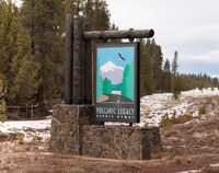 Sign Marking Travelers Entry into Volcanic Legacy Scenic Byway Oregon