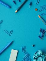 Blue office utensils