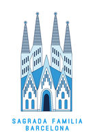 Line art Sagrada Familia Barcelona, famous Spain cathedral, vector illustration in flat style.