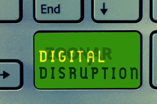 Word writing text Digital Disruption. Business concept for Changes that affect technology markets Product makeover
