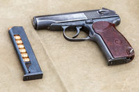 Soviet army handgun with ammunition