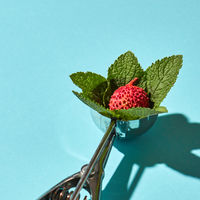The spoon for ice cream with litchi fruit and mint leaves on a blue background with hard shadows. Food concept.