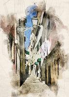 Watercolor Streets of Lisbon