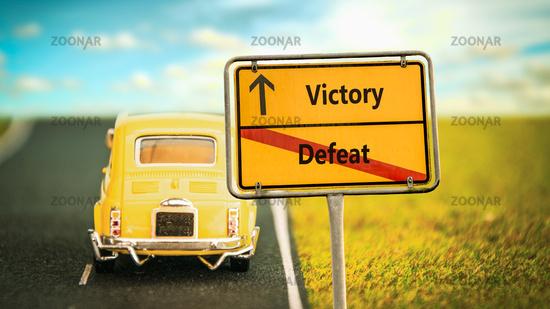 Street Sign Victory versus Defeat