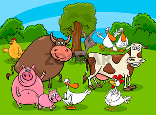 cartoon farm animal characters on meadow