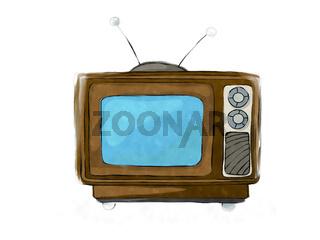Watercolor retro tv set 4