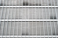 closed blinds on modern building facade, closed shutters on office exterior