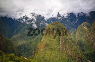 Panoramic view to Machu Picchu archaeological site with Polygonal masonry, Cuzco, Peru