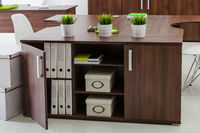 wooden tables and plants in a office