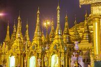 Shwedagon pagoda at night, Yangon Myanmar