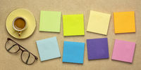 colorful blank reminder notes and coffee