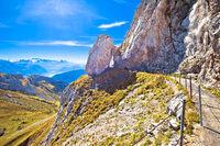 Mount Pilatus cliffs walkway with alpine peaks view
