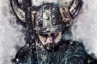 Watercolor, Sword, Viking warrior with helmet over forest background