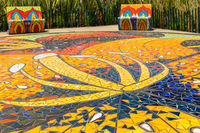 Bogota park with floor and benches with coloured mosaic